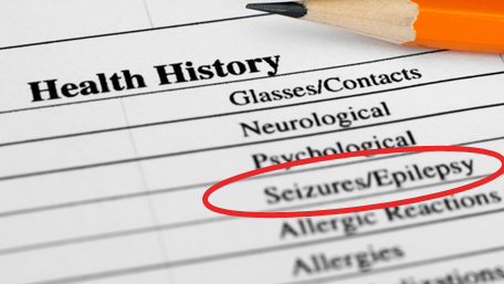 Health History with the words Seizure/Epilepsy circled in red