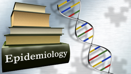 a stack of books with DNA and Epidemiology written on the spine