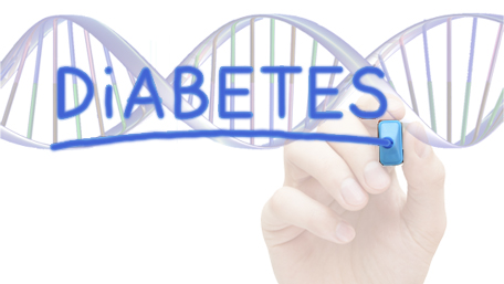 Diabetes written with a pen and DNA