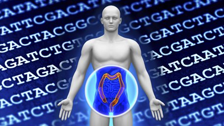 colon exposed on human figure with DNA secencing in background