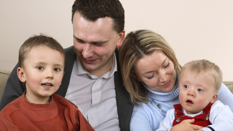a family with a Down Syndrome child