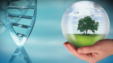 DNA and a hand holding a globe with a tree inside