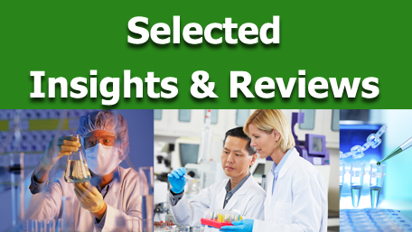 Seletced Insights & Reviews with various images of researchers in labortory environments