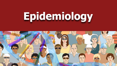 Epidemiology with an image of a crowd of people with a double helix