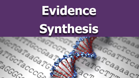 Evidence Synthesis with an image of sequencing and a double helix