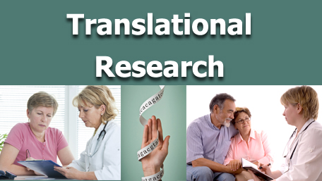 Translational Research with two images of people talking to a genetic counselor and an image of a hand with wrapped sequecing around it